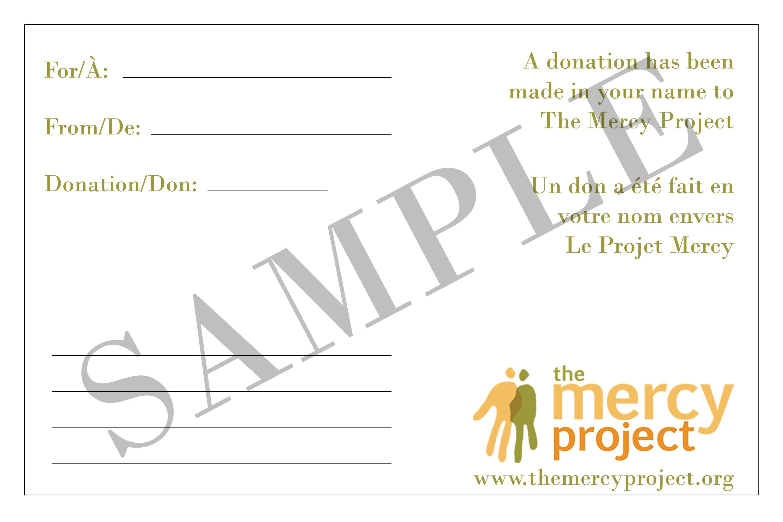 donation card sample